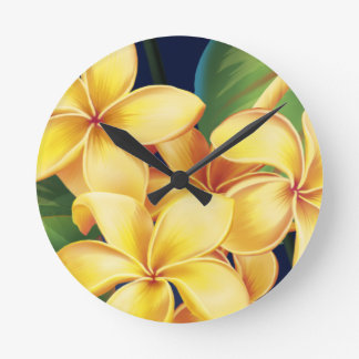 Tropical Paradise Plumeria Wall Clocks
