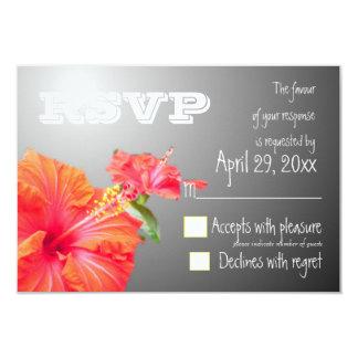 Tropical paradise red hibiscus wedding invites