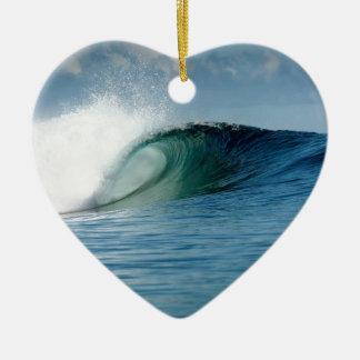 Tropical paradise surfing wave ceramic ornament