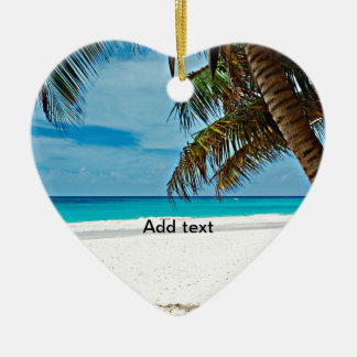 Tropical Paradise Template-Sunny day at the beach Double-Sided Heart Ceramic Christmas Ornament