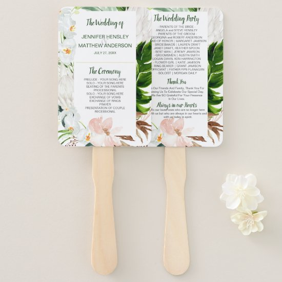 Tropical Paradise Tropical Floral Wedding Hand Fan