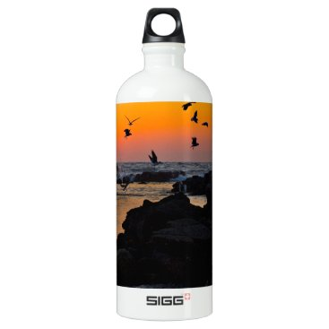 Professional Business Tropical Paradise Water Beach Sunset Palm Destiny Aluminum Water Bottle