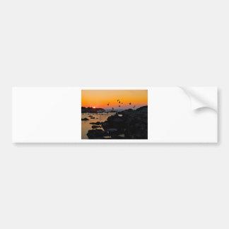 Tropical Paradise Water Beach Sunset Palm Destiny Car Bumper Sticker