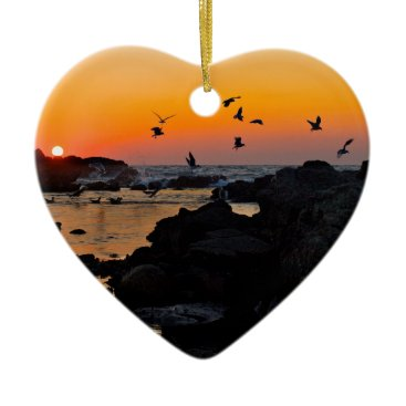Professional Business Tropical Paradise Water Beach Sunset Palm Destiny Ceramic Ornament
