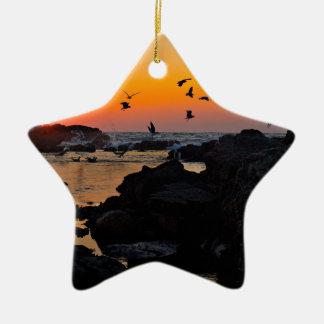 Tropical Paradise Water Beach Sunset Palm Destiny Christmas Tree Ornaments