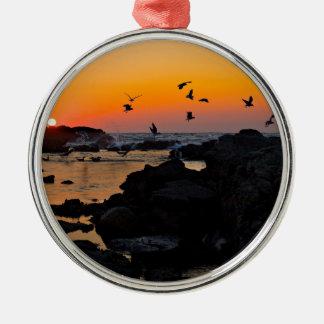 Tropical Paradise Water Beach Sunset Palm Destiny Christmas Tree Ornament