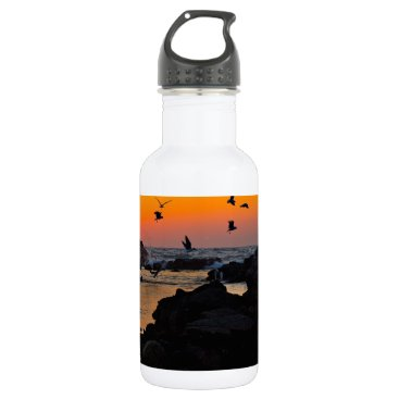 Professional Business Tropical Paradise Water Beach Sunset Palm Destiny Stainless Steel Water Bottle