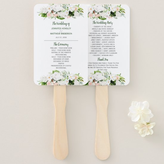 Tropical Paradise Watercolor Floral Wedding Hand Fan
