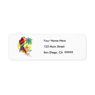 Tropical Paradise with Macaw and Cruise Ship Label