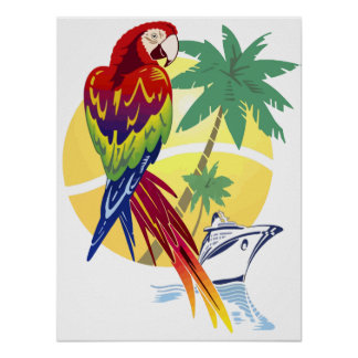 Tropical Paradise with Macaw and Cruise Ship Poster