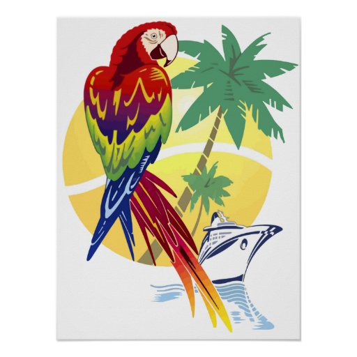 Tropical Paradise with Macaw and Cruise Ship Print