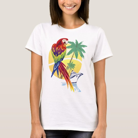 Tropical Paradise with Macaw and Cruise Ship T-Shirt