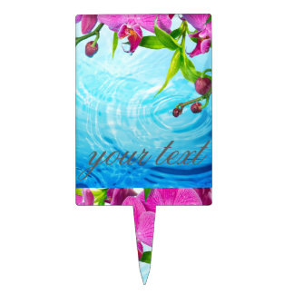tropical paradise,zen,peace,orchid,blue water,yoga cake picks