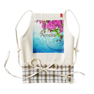 tropical paradise,zen,peace,orchid,blue water,yoga zazzle HEART apron