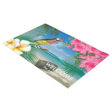 Beach Themed Tropical Parakeet Birds at the Beach Doormat