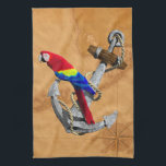 """Tropical Parrot And Anchor Hand Towel<br><div class=""""desc"""">Vintage ship&#39;s anchor,  a tropical colorful parrot perched on top,  and a vintage nautical map of the tropical islands of the Florida Keys.</div>"""
