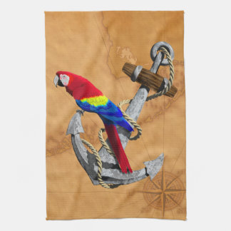 Tropical Parrot And Anchor Hand Towel