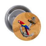 Tropical Parrot And Anchor Pinback Button