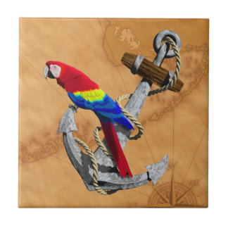 Tropical Parrot And Anchor Small Square Tile