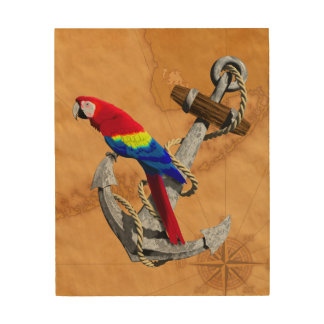 Tropical Parrot And Anchor Wood Print
