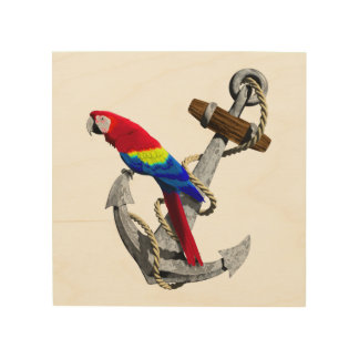 Tropical Parrot And Anchor Wood Wall Art