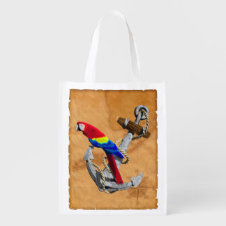 Tropical Parrot And Anchor Grocery Bags