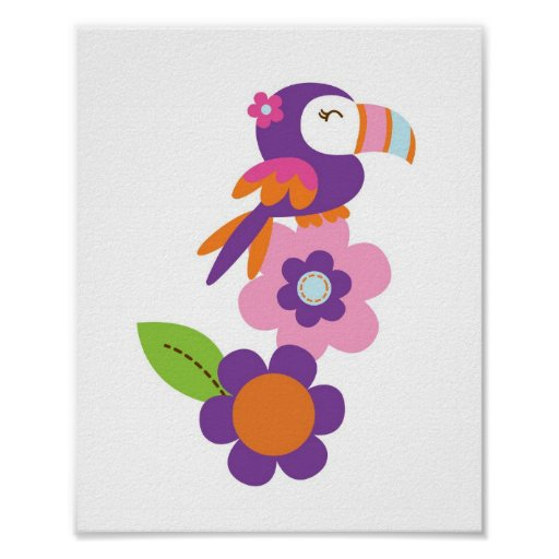 Tropical Parrot Baby Girl Nursery Wall Print