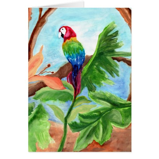 Tropical Parrot-Ice Greeting Cards
