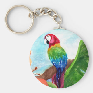 Tropical Parrot-Ice Basic Round Button Keychain
