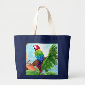 Tropical Parrot-Ice Large Tote Bag