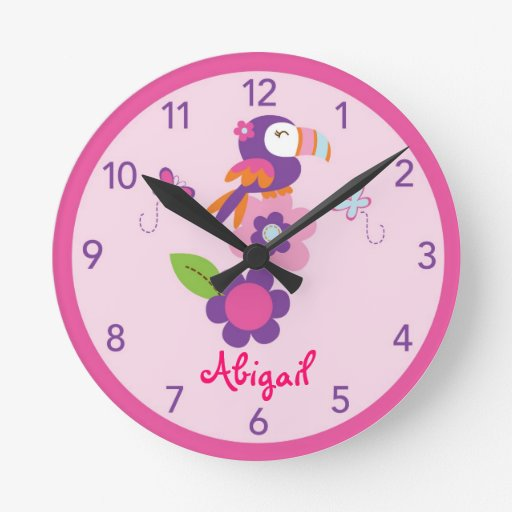 Tropical Parrot Toucan Nursery Wall Clock