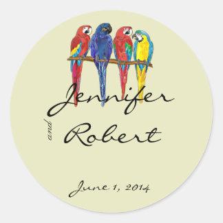 Tropical Parrots Envelope Seal Classic Round Sticker