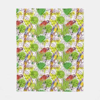 Tropical Parrots Fleece Blanket