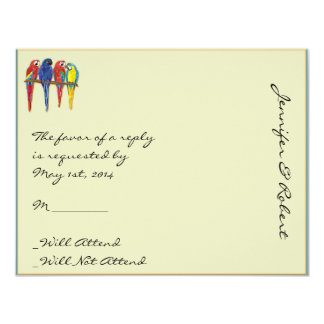 Tropical Parrots Response Card Personalized Invite