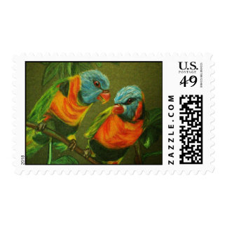 Tropical Parrots Stamp