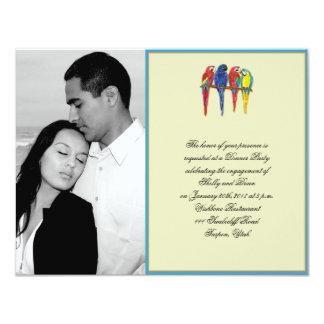 Tropical Parrots Wedding Engagement Card