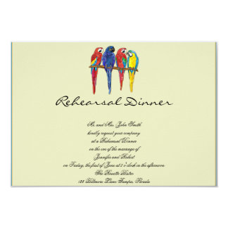 Tropical Parrots Wedding Rehearsal 3.5x5 Paper Invitation Card