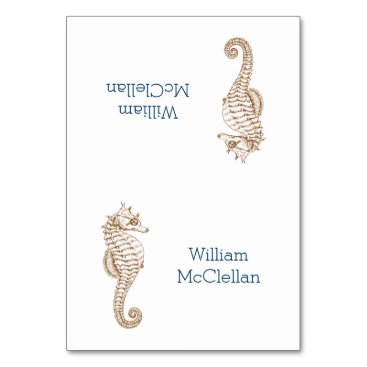 Beach Themed Tropical Party Seahorse Tented Place Cards
