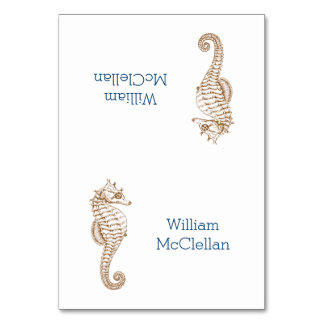 Tropical Party Seahorse Tented Place Cards Table Cards