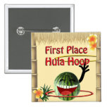 Tropical Party Tiki Hut  1st Place Hula Hoop 2 Inch Square Button