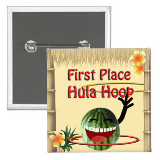 Tropical Party Tiki Hut  1st Place Hula Hoop Buttons