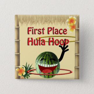 Tropical Party Tiki Hut  1st Place Hula Hoop Pinback Button