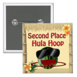 Tropical Party Tiki Hut 2nd Place Hula Hoop 2 Inch Square Button