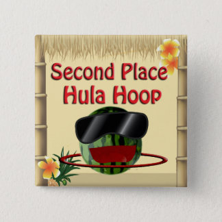 Tropical Party Tiki Hut 2nd Place Hula Hoop Pinback Button