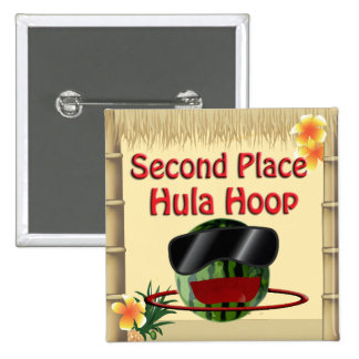 Tropical Party Tiki Hut 2nd Place Hula Hoop Pinback Button