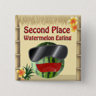 Tropical Party Tiki Hut 2nd Place Watermelon Eat Pinback Button