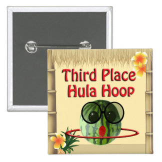 Tropical Party Tiki Hut  3rd Place Hula Hoop 2 Inch Square Button
