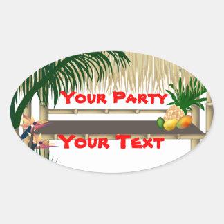 Tropical Party Tiki Hut Oval Sticker 2