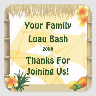 Tropical Party Tiki Hut Party Favor Sticker