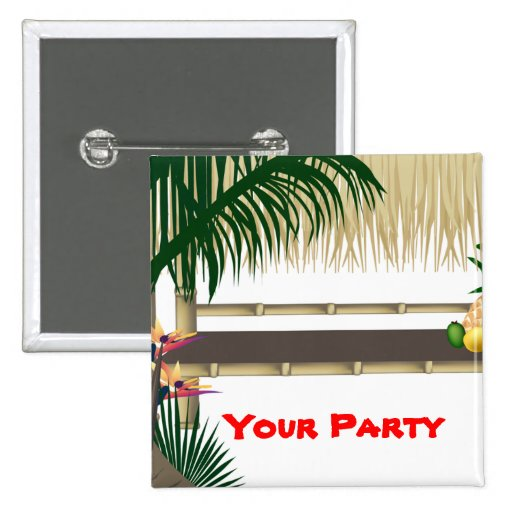 Tropical Party Tiki Hut Pin Back Button